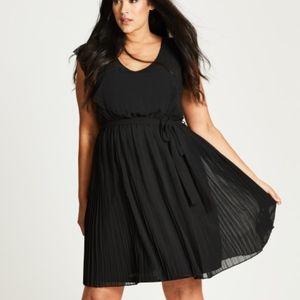 City Chic Pleated Cutout Black Dress